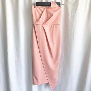 Missguided blush bandeau origami midi dress